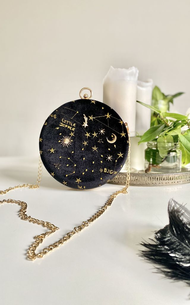 Lux black velvet big dipper round clutch bag by Kate Coleman