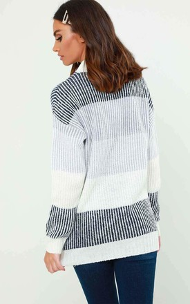Charlotte Colour Block Jumper in White and Grey by Urban Bliss