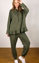 Frill Hem Hoodie Loungewear Jogger & Top Set in Khaki by Hey You London