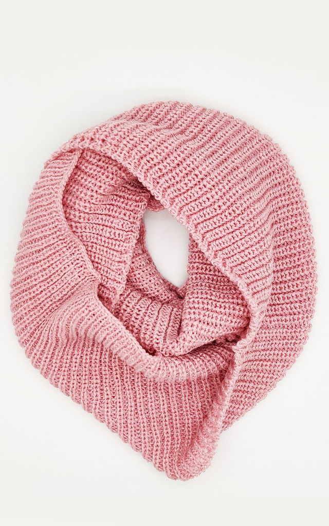 Ribbed Knitted Circle Scarf in Pink by ANGELEYE