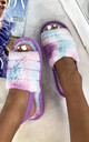 Bliss Cloud Pastel Tie Dye Fluffy Slippers in Purple by Larena Fashion