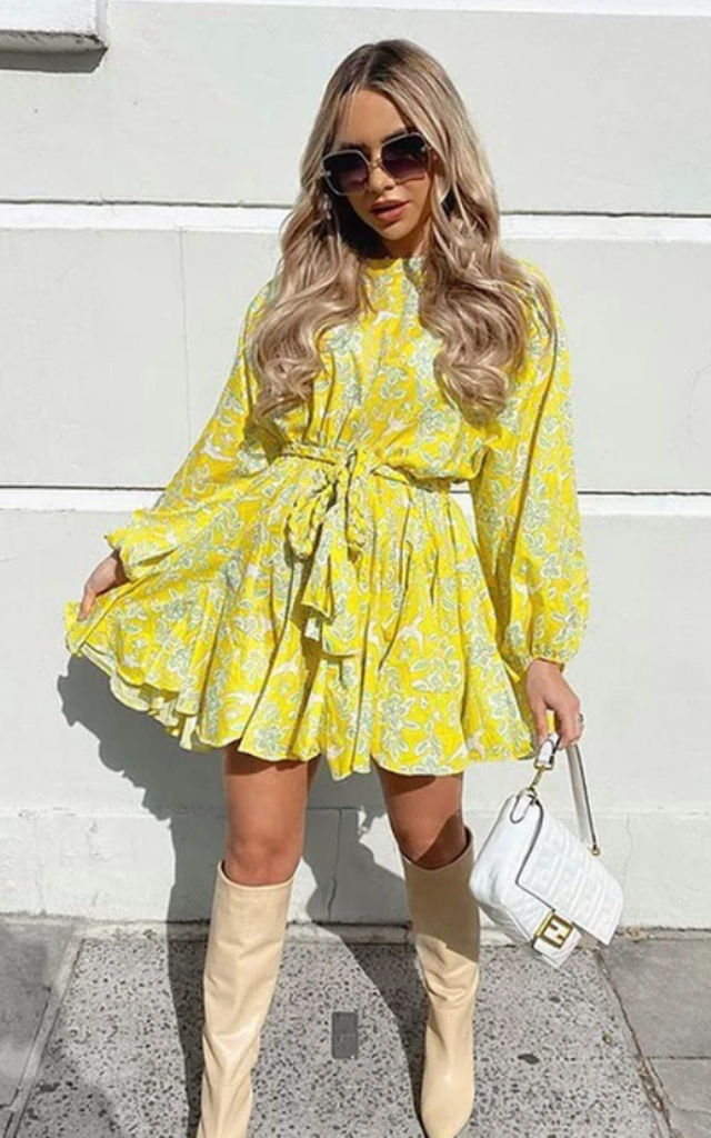 Yellow Ruffle mini dress by Luxy Boutique