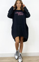 Livin' Doll Oversized Sweatshirt Dress in Black by Love