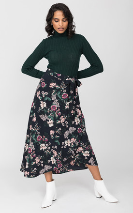 Maxi Wrap Skirt in Midnight Floral Black by likemary
