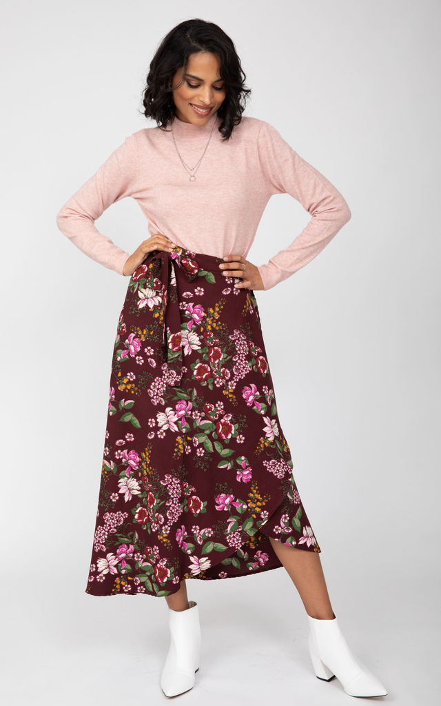 Maxi Wrap Skirt in Pink Floral Burgundy by likemary