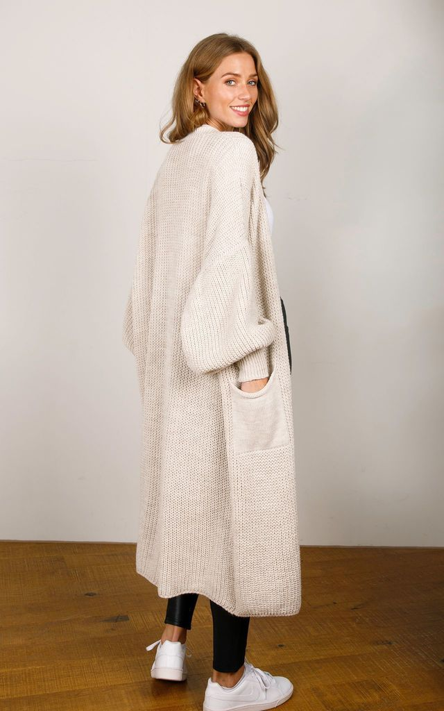 Beige Knitted Midi Cardigan by Hey You London