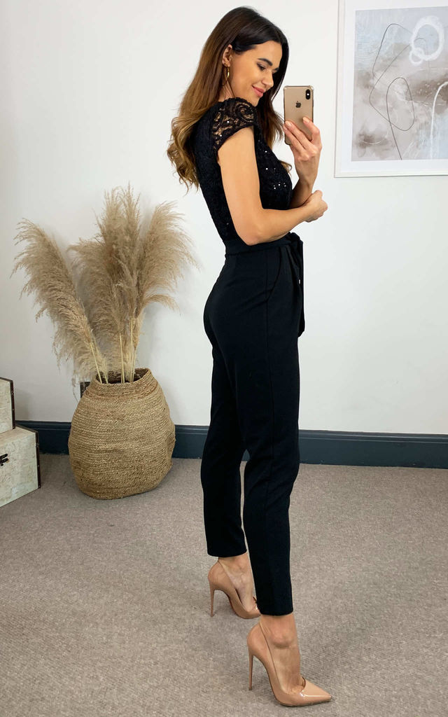 Sequin Lace Jumpsuit with Belt by Skirt and Stiletto