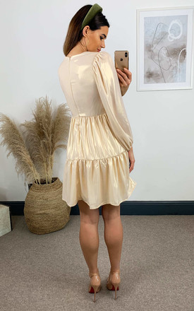 Gold Metallic Chiffon Dress by Skirt and Stiletto