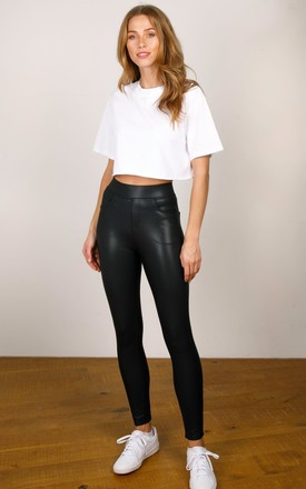 Leather Look PU Trousers with Pocket Detail by Hey You London