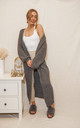Harper Longline Chunky Knit Cardigan In Grey by Style Cheat