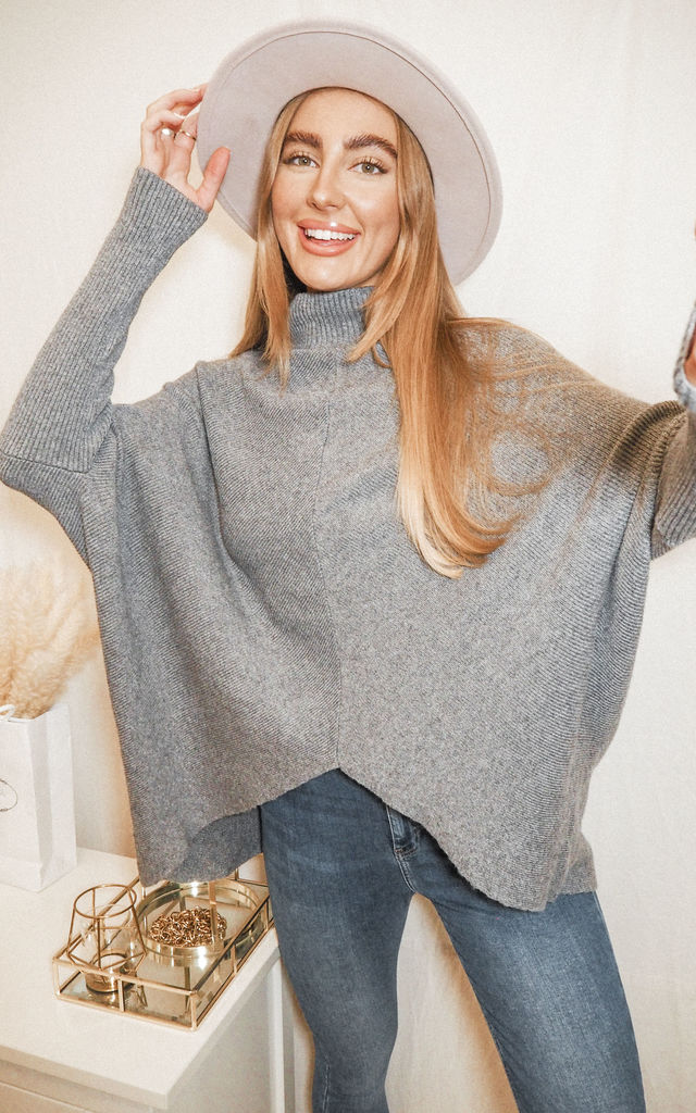 Hope Oversized High Neck Knitted Jumper In Grey by Style Cheat