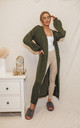 Harper Longline knit cocoon Cardigan in Khaki by Style Cheat