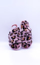 Fluffy Faux Fur Back Strap Slide Slippers in Pink Leopard by ANGELEYE