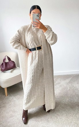 Lauren Knitted Longline Dress & Cardigan Co-Ord in Stone by IKRUSH