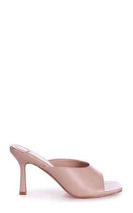 Jada Nude Nappa High Cut Slip On Square Toe Mule by Linzi