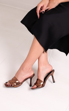 Candid Bronze Square Toe Heel With Woven Front Strap by Linzi