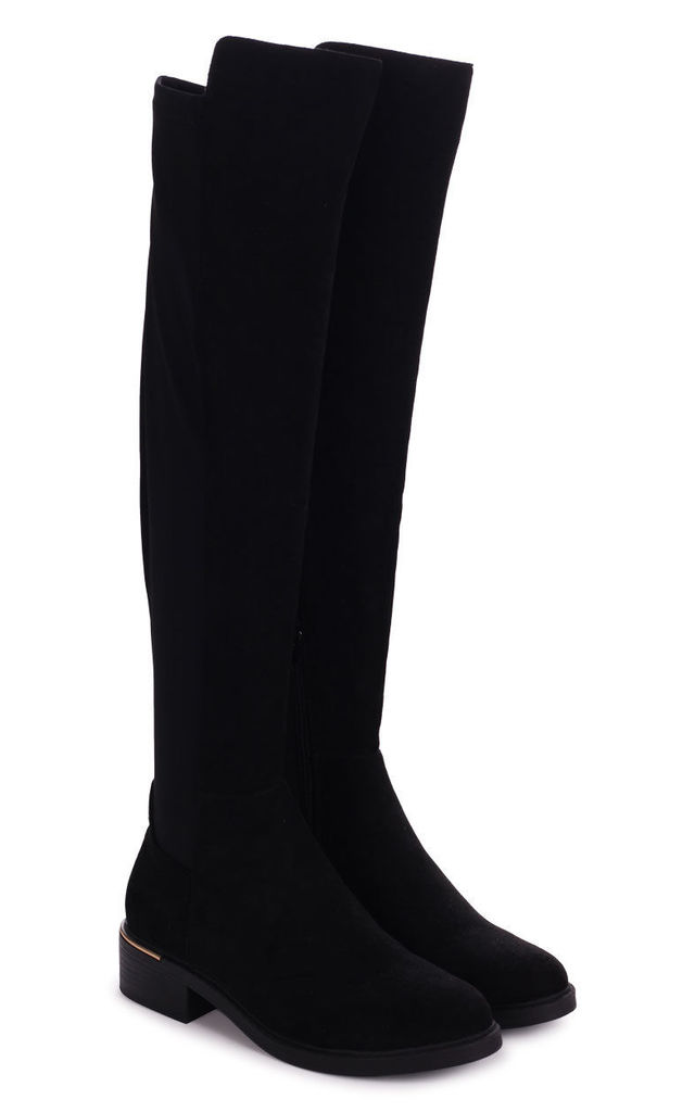 Apollo Black Suede Over The Knee Long Boot by Linzi
