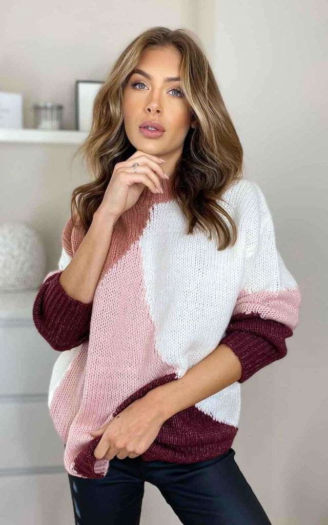 Urban Bliss Pink Colour Block Swirl Jumper by Urban Bliss