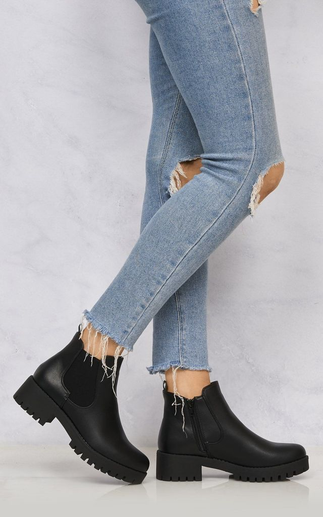 Solo Elastic Cleated Sole Ankle Boot in Black Matt by Miss Diva