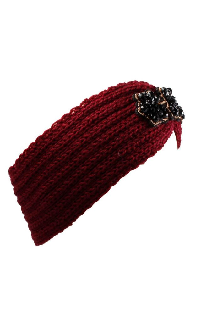 Maroon Knitted Headband With Black Jewel Flower Trio by Gregory