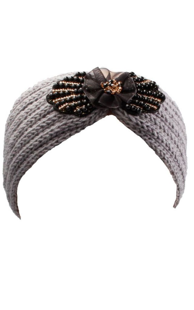 Grey Knitted Headband with Black Flower And Jewel Detail by Gregory