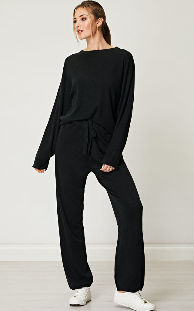 Knitted Crew Neck Jogger Trousers Loungewear Co-Ord Set in Black by ANGELEYE