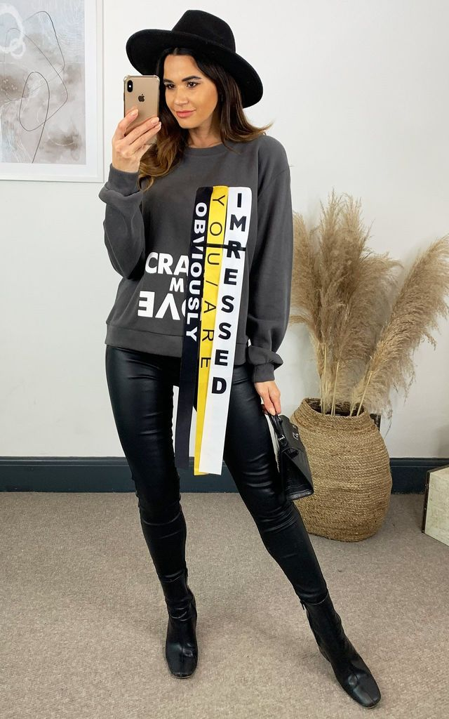 Grey Sweatshirt With Printed Ribbon Detail by The ModestMe Collection