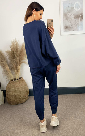 2 Piece Oversized Top And Jogger Loungewear Set In Navy by HOXTON GAL