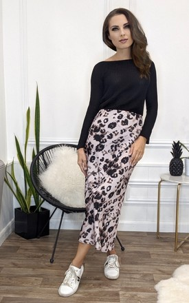 Naomi Pink Leopard Print Midi Skirt by Honor Gold