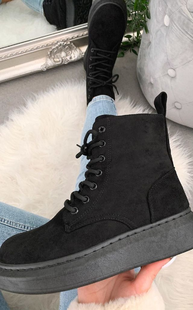 Betty Faux Suede Lace Up Boots in Black by IKRUSH