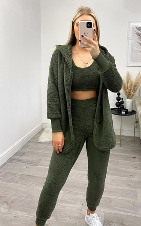 Bex Fleece Three Piece Co-ord in Khaki by IKRUSH