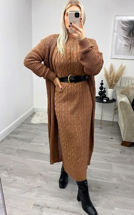 Lauren Knitted Longline Dress & Cardigan Co-Ord in Camel by IKRUSH