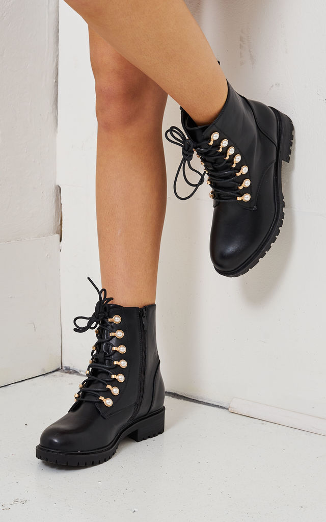 Black Pearl Detail Ankle Boots by love frontrow