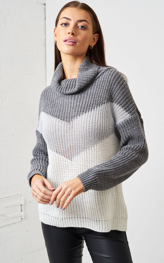Grey Striped Roll Neck Jumper by love frontrow