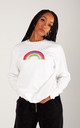 Relaxed Fit Jumper in White with Mini Glitter Rainbow by Lime Blonde