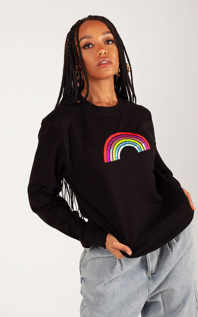 Jumper in Black with Mini Glitter Rainbow by Lime Blonde