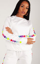 Jumper in White with Glitter Heart Sleeves by LimeBlonde