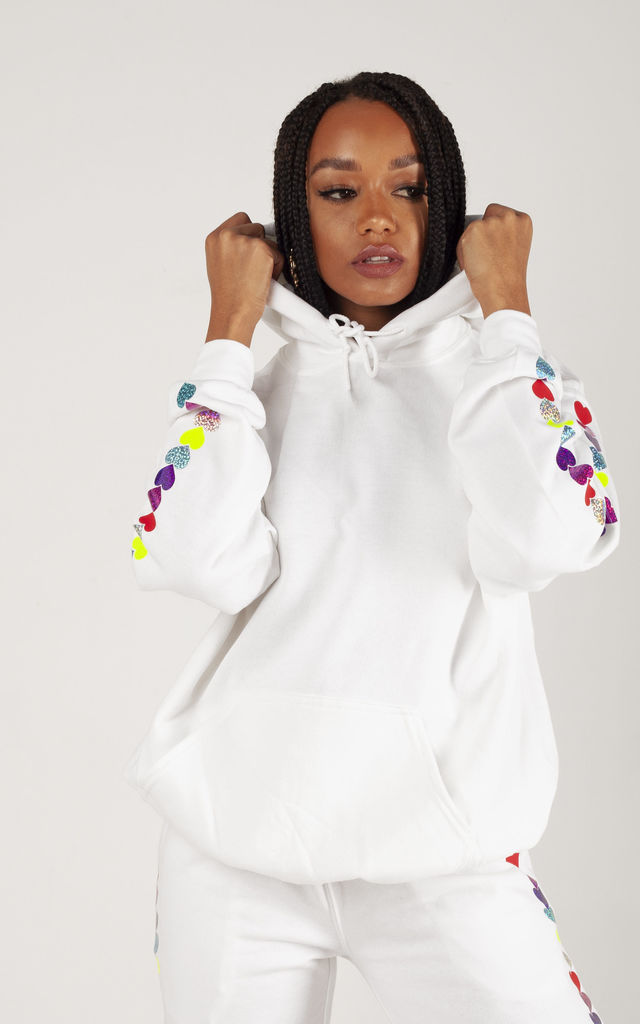 Hoodie in White with Glitter Heart Sleeves by LimeBlonde