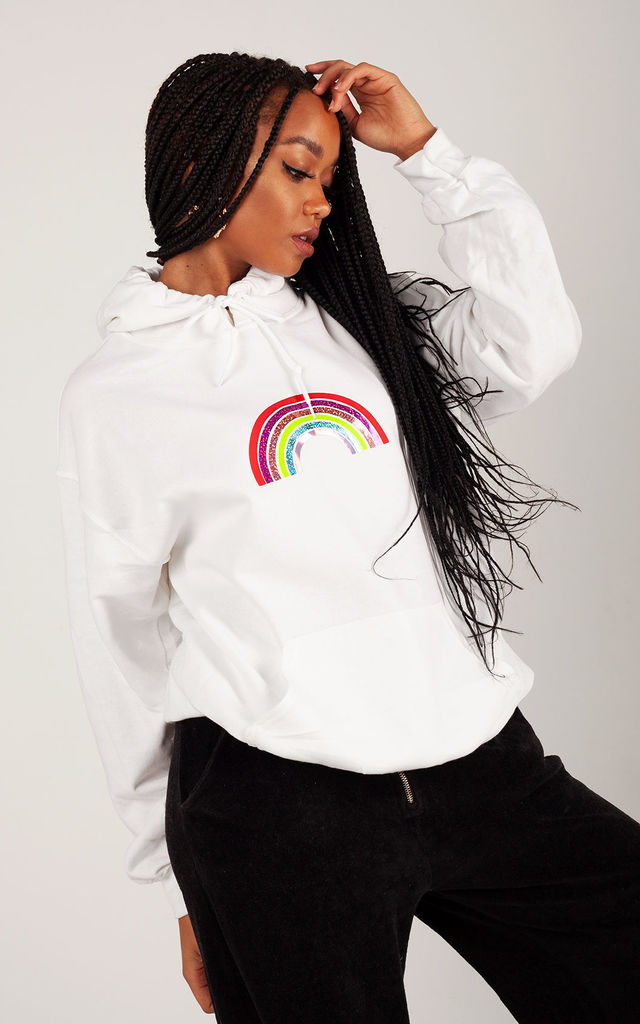 Relaxed Fit Hoodie in White with Mini Glitter Rainbow by LimeBlonde