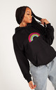 Relaxed Fit Hoodie in Black with Glitter Rainbow by Lime Blonde