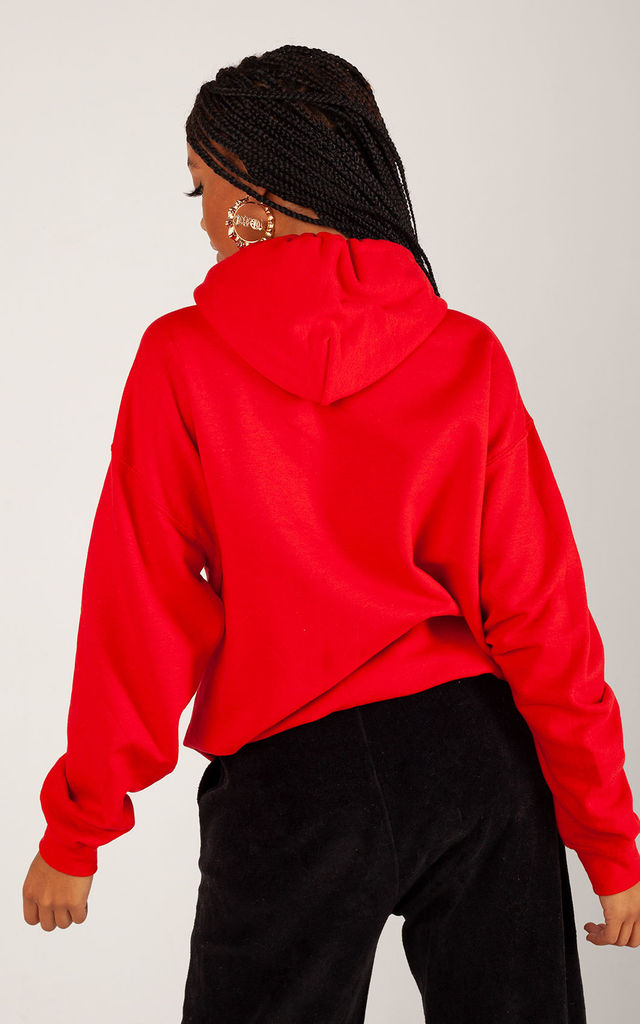 Oversized Hoodie in Red with Black Glitter Hearts by Lime Blonde
