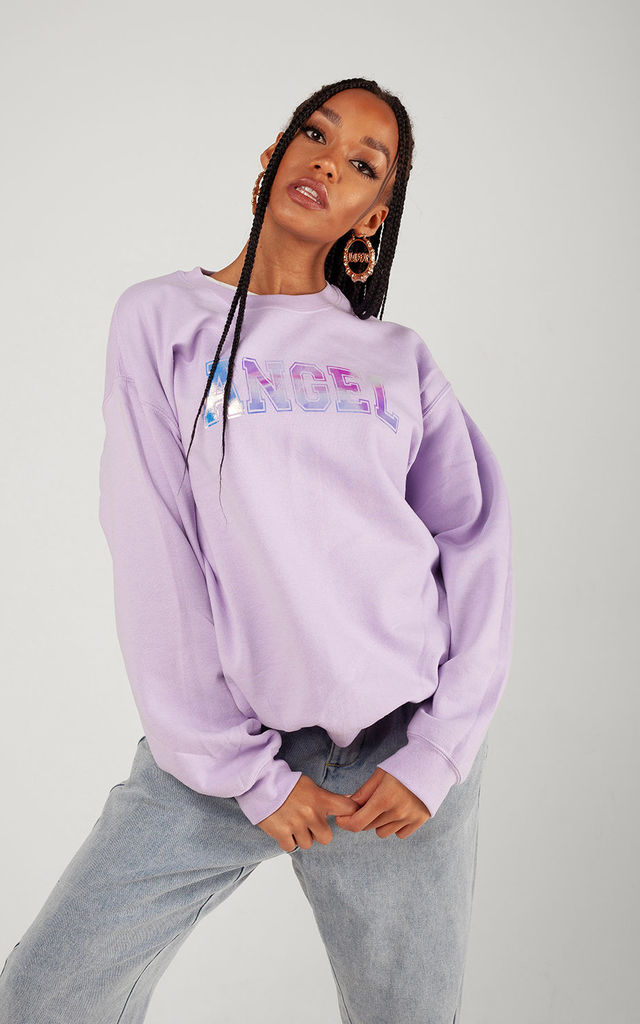 "Lilac Iridescent ""ANGEL"" Oversized Sweatshirt by LimeBlonde"