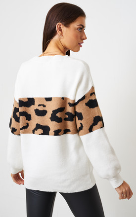 White Soft Leopard Print Jumper by love frontrow