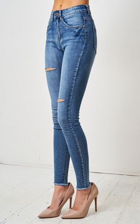 Morgan Blue Double Rip High Waist Skinny Jeans by love frontrow