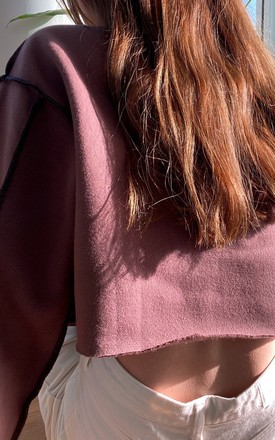 Chocolate Brown Exposed Seam Cropped Sweater by Wild Peach