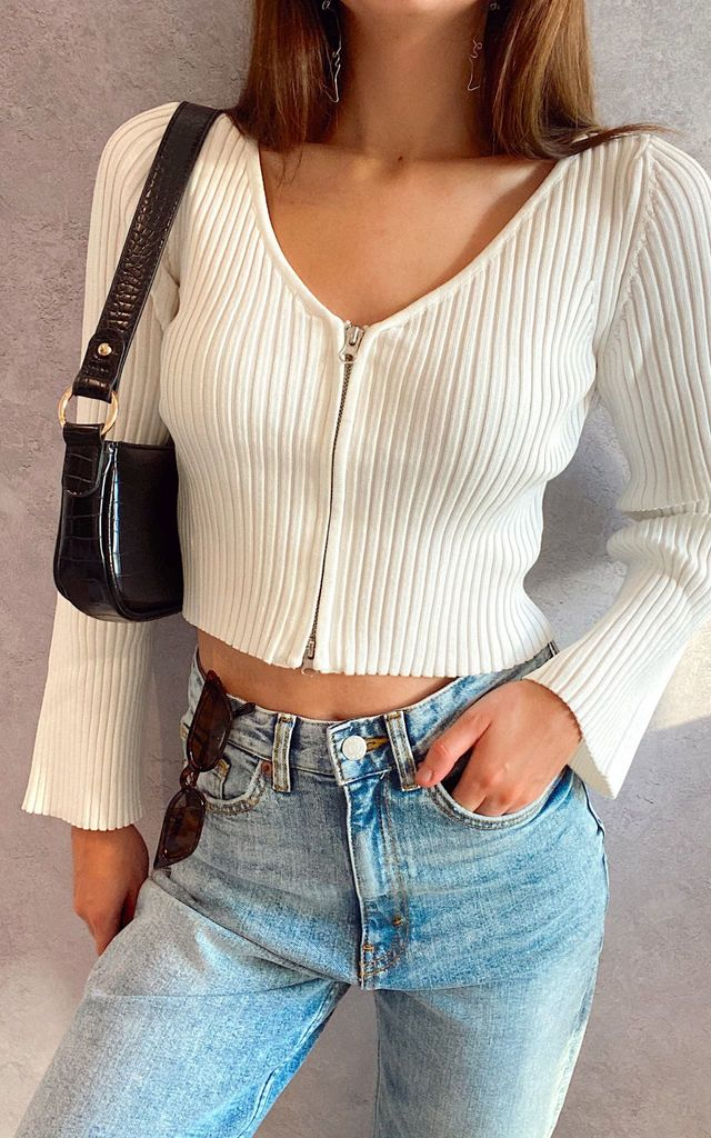 White Long Sleeve Zip Ribbed Sweater Top by Wild Peach