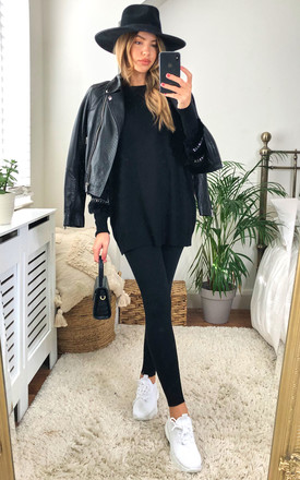 Black Fringe Trim Oversized Loungewear by Gini London