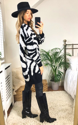 White Base Zebra Print Oversized Jumper Dress by Gini London