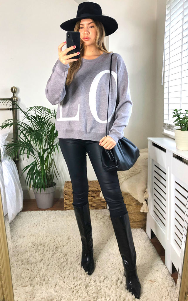Grey LOVE Printed Knit Oversized Jumper by Gini London