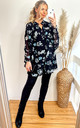 Flowy Chiffon Oversized Shirt with Long Sleeves in Black Floral Print by CY Boutique